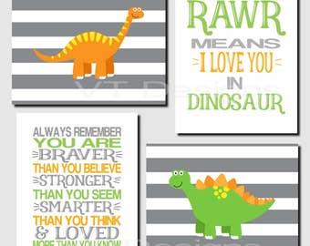 Dinosaur Nursery Art, Boy Nursery Decor, Always Remember, Rawr Means I Love You in Dinosaur, Shared Space, Girl, Set of 4, Canvas or Prints