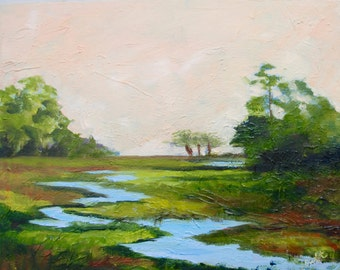 Modern Impressionist Original Oil Landscape Painting of Marsh Lowcountry South Carolina by Rebecca Croft