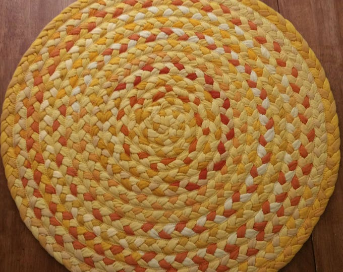 """27"""" On Sale yellow braided rug with orange added"""