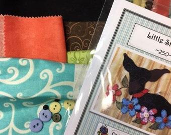 Little Smokie, a sweet puppy applique Tea Towel Kit with Pattern light yellow towel