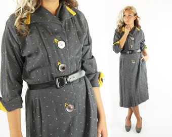 Vintage 40s 50s Day Dress Yellow Details Gray Wool Big Buttons Long Sleeves 1940s 1950s Pinup Rockabilly Jack Mann Large L