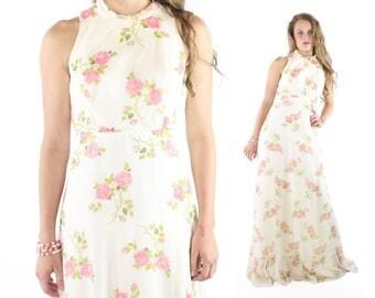 70s Maxi Dress Ivory Floral Summer Wedding Sleeveless Vintage 1970s Small S Jacket Bolero Hippie Boho Festival