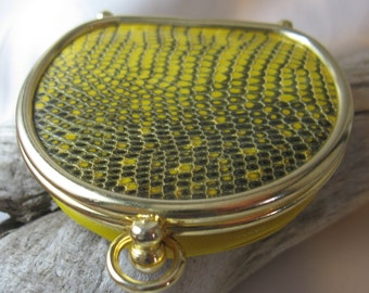 Vintage Black & Yellow Reptile Coin Purse with Butterscotch Leather and Red Silky Lining