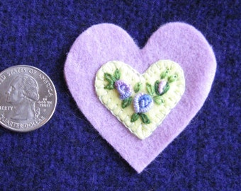 Embroidered floral wool felt heart ornament/pin - yellow on lavender base with lavender roses