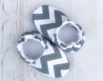 Baby soft sole Shoes, Gray and White Chevron Shoes,  Baby and Toddler shoe slippers