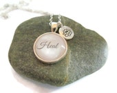 HEAL Necklace,  Inspirational Necklace, Lotus Blossom Charm, Mantra Jewelry, Gift for Doctor or Nurse, Yoga Jewelry, Bronzed or Silver