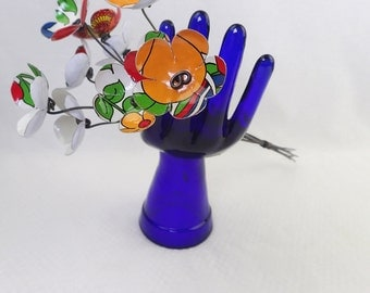 Bright Flowery White, Orange, Red and Blue  Bouquet  of Tin Forever Blooming Flowers