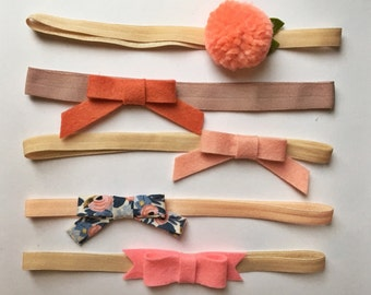 pom pom flower + felt bow headband