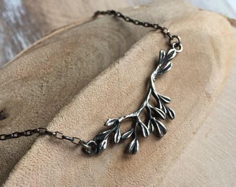 Leafy Branch Necklace - Artisan Sterling Branch Charm - Tree Branch Necklace