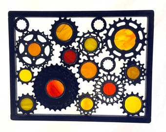 Upcycled Bicycle Sculpture Panel - Bike Parts And Stained Glass Bicycle Art