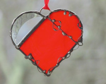 Stained glass bright red heart suncatcher, glass ornament window decor, Anniversary, Valentines, Mothers day gift under 25