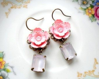 Pink Earrings Pink Bridesmaid Earrings Pastel Jewelry Pink Dangle Earrings Pink Flower Earrings Bridesmaid Gift Pastel Earrings Pink Jewelry