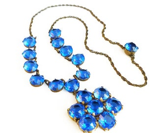 Art Deco Blue Crystal Necklace - Gold Tone, Art Deco Jewelry, Antique Jewelry, Vintage Necklace