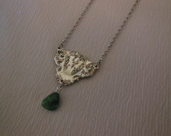 Turquoise And Silver  Free Form Antique Fork Necklace