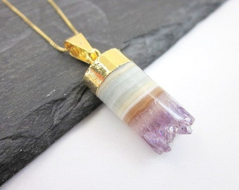 Gold & Amethyst Necklace, Women's Amethyst Necklace, February Birthstone Jewelry, Raw Purple Stone Necklace, Amethyst Layering Necklace