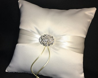 Ivory or White Rhinestone Accent Wedding Ring Bearer Pillow
