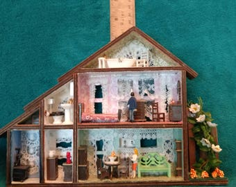 OOAK Doll House, Shadow Box, Miniature, Wood House, Modern Furniture, Residents Included