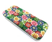Polymer Clay Magnetic Needle Case, Pill case, Pill Box, Stocking Stuffers, Gift, Flower Design
