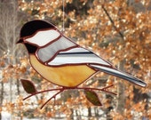 Chickadee - Large Stained Glass Bird Suncatcher 22172