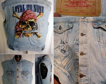 Choose One...Usa made LEVIS or LEE Blue cotton button up 4-Pocket Denim Mens Vests with Motorcycle style design Lg, M, XS