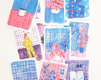 A set of 11 Blue & Purple Postcards