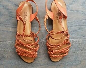 Vintage STRAPPY Karen Scott Sport LEATHER Braided Sandals US 7 1/2