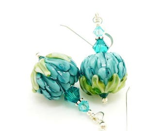 Teal Flower Earrings, Lampwork Earrings, Glass Bead Earrings, Unique Earrings, Glass Art Earrings, Dangle Earrings, Floral Earrings