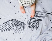 Wings - Organic Cotton Luxe Swaddle Blanket Tapestry printed with Natural Logwood Plant Dye