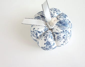 Blue and White Watercolor Floral Fabric Pumpkin Pincushion, Fabric Pumpkin, Fabric Pincushion, Blue and White
