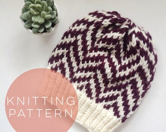 Instant Download Knitting Pattern Womens Hat Pattern Fair Isle Hat Pattern Pom Pom Hat Pattern  Knit Pompom Hat Pattern Women's Accessories
