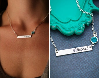 Silver Bar Necklace • Birthstone Bar Necklace Birthstone Jewelry • Custom Bridesmaid Gift Name Bar • Silver Nameplate Custom Name