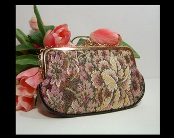 Double sided tapestry wallet change purse ~ scalloped goldtone ~ kisslock clutch cosmetic travel make up bag  sparkly metallic purple floral