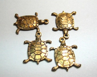 Raw Brass Turtle Dangle Turtle Charm