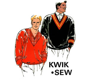 80s Mens Sweatshirts Pattern Kwik Sew 2021 Vintage Sewing Pattern Retro V Neck Stretch Pullovers Sizes S - XL UNCUT Factory Folded