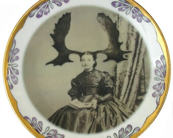 Aunt Wapiti - Altered Vintage Plate 7.75""