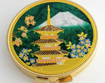 Vintage Gold Enamel Asian Scene Purse Hand Mirror Unsigned