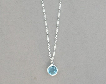 8 mm March Birthstone- Aquamarine Drop Necklace
