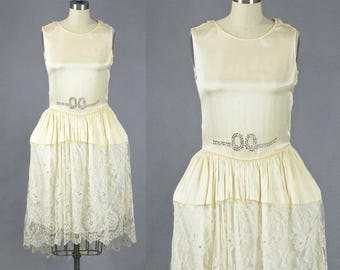 1920s Dress, 20s Robe de Style Pannier Dress, Cream Silk and Lace Flapper Wedding Dress with Rhinestones