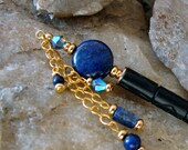 Blue Geisha Dangle Hair Stick Lapis Lazuli Gemstone Coin Hairstick with Swarovski Denim Blue 2X AB Crystal - Fione