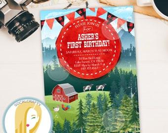 Farm Birthday Party Invitation, Farm Invitation, Barn Birthday Party Invitation, Barnyard Bash Invite, DIY, Printable or Printed Invitations