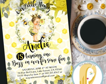 Bumble Bee Birthday Invitation, Bee Invitation, First Birthday Invitation, Bumble Bee Invitation, DIY, Printed or Printable Invitations