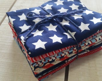 Red White and Blue fat quarter bundle #001 - 11 fat quarters - fourth of July
