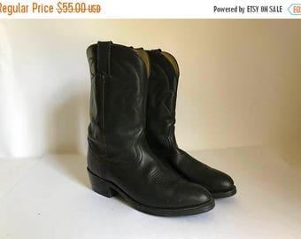 Vintage Men's DURANGO Black Leather Size 9.5 D Cowboy Boots - 9-1/2D 9-1/2 D 9.5D