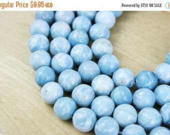 MOVING SALE Dyed Natural Gemstone Beads Round / Marbled Crystal / Blue Pastel / 10mm / Full Strand [BEA4059]