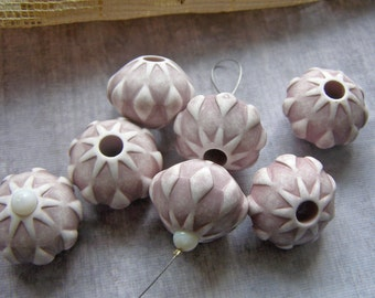 Large VIntage Geometric Beads, Vintage Italian Beads, Gray Cream Bead, Bold Acrylic Beads