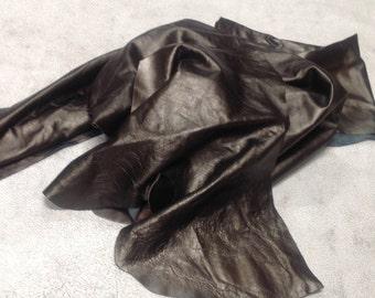 CLFE39. Dark Pewter Package of 3 Leather Cowhide Remnants