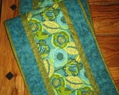 """Abstract Contemporary Blue Green Flower Table Runner, 100% Cotton Fabrics, Reversible, 13 x 48"""""""