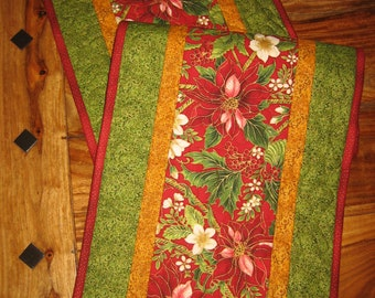"""Quilted Christmas Table Runner, Red Poinsettias and Pine Cones Holly Leaves, Holiday Runner, 14 x 70"""" or 14 x 47"""", Reversible"""