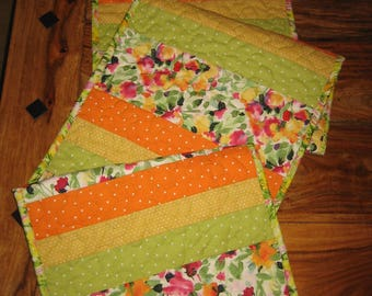 "Spring Summer Floral Quilted Table Runner, Watercolor Garden, Pink Orange Green Flowers, 13.5 x 56"" Reversible Handmade Free Shipping"
