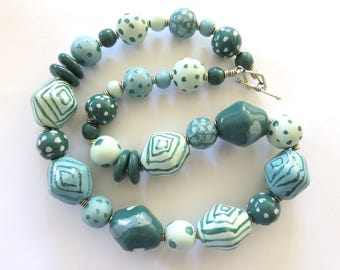 Green Beaded Necklace, Ceramic Jewelry, Kazuri Bead Necklace, Statement Necklace, Spearmint and Teal Neclkace